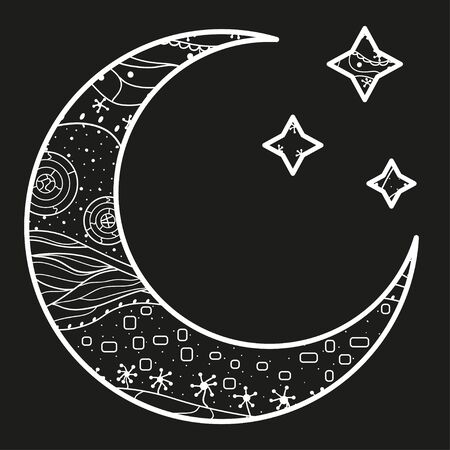 Crescent moon and stars with abstract patterns. Black and white illustration