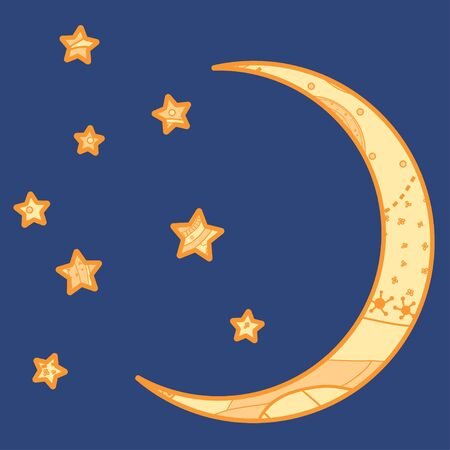 Crescent moon. Abstract moon and stars with ornate patterns on isolation background. Design for spiritual relaxation for adults