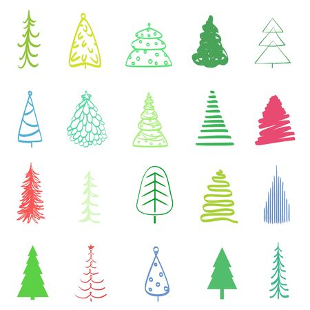 Colorful christmas trees on white. Hand drawn holiday xmas elements for design. Christmas tree on isolated background