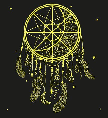 Dreamcatcher. Mystic symbol. Abstract hand drawn dreamcatcher Standard-Bild - 134629348