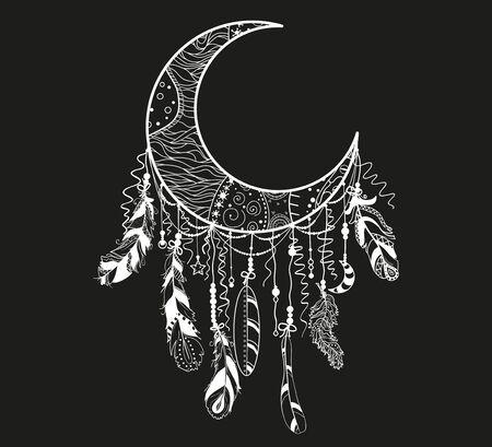 Dreamcatcher. Mystic symbol. Abstract hand drawn dreamcatcher