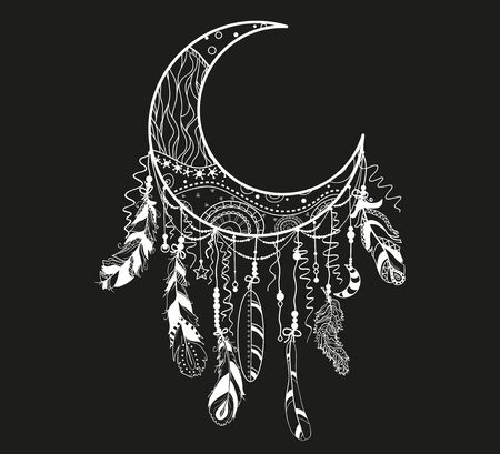 Dreamcatcher on black. Abstract mystic symbol. Design for spiritual relaxation for adults