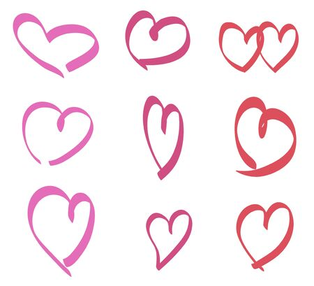 Colorful hearts on isolated white background. Hand drawn set. Valentines day Ilustrace