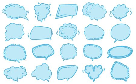 Speech bubble on white. Colored hand drawn think and talk speech bubbles