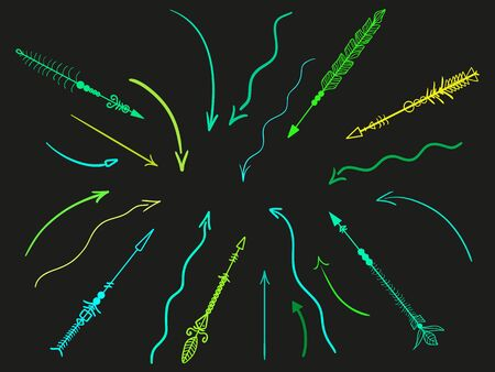 Hand drawn arrow. Abstract elements. Set of different arrows Illustration