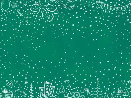 Hand drawn christmas background. Abstract christmas chalkboard. Sketchy background with holiday xmas elements. Happy New Year