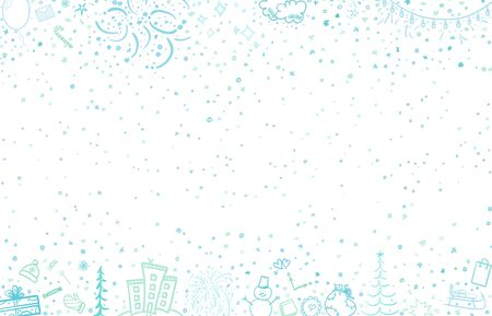Hand drawn christmas pattern on white. Background with holiday christmas elements