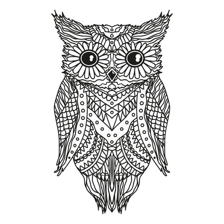 Owl on isolated white. Detailed hand drawn vintage bird with abstract patterns on isolation background. Design for spiritual relaxation for adults Ilustrace