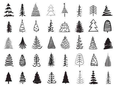 Árboles de Navidad en blanco. Ilustración en blanco y negro