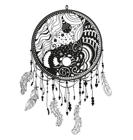 Yin and Yang. Dreamcatcher on white. Abstract mystic symbol. Black and white illustration