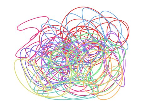 Colorful tangled on white. Chaos pattern. Scribble sketch