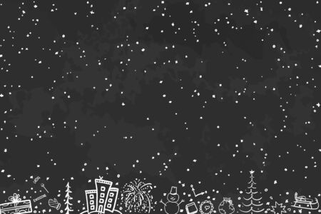 Hand drawn xmas background. Abstract chalkboard