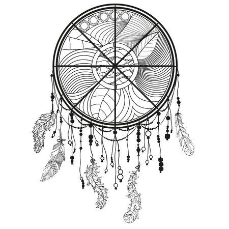 Atrapasueños monocromo en blanco. Símbolo místico abstracto. Ilustración en blanco y negro para colorear