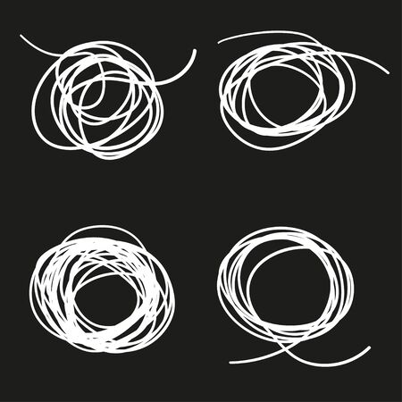 Hand drawn tangled shapes on isolated background. Black and white illustration