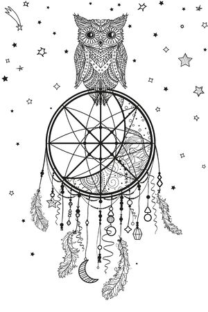 Dreamcatcher on white. Abstract owl sitting on dreamcatcher. Black and white illustration