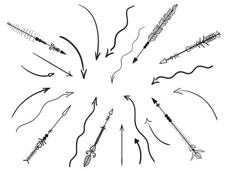 Hand drawn decorative arrow. Abstract elements. Set of different arrows Illustration