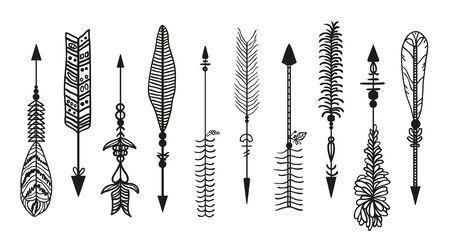 Flèche ornée. Ensemble de flèches différentes avec des ornements. Illustration en noir et blanc Vecteurs