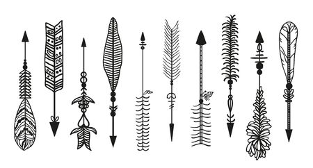 Ornate arrow. Set of different arrows with ornaments. Black and white illustration