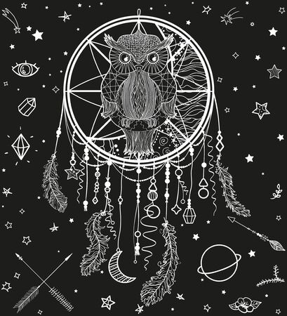 Dreamcatcher with owl. Abstract ornate owl sitting on dreamcatcher. Cosmic elements. Black and white illustration