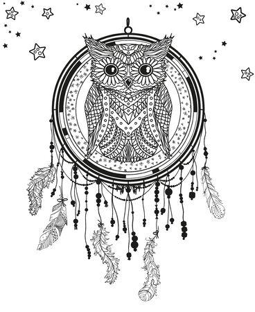Dreamcatcher on white. Abstract owl sitting on dreamcatcher. Mystic symbol with patterned bird. Black and white illustration Ilustração