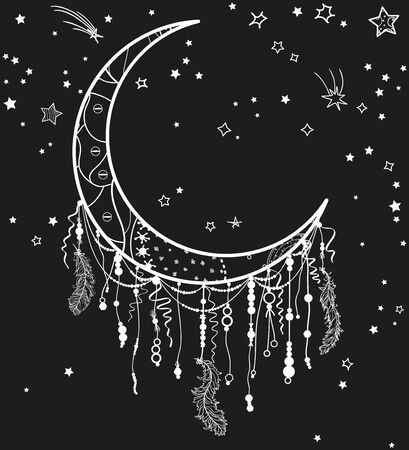 White dreamcatcher with stars on black. Abstract mystic symbol. Design for spiritual relaxation for adults Ilustração