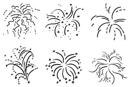 Explosion. Set of holiday fireworks on isolated white background. Black and white illustration