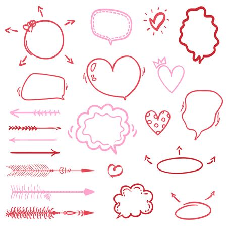 Heart. Abstract hearts on white background. Hand drawn love elements. Valentines day
