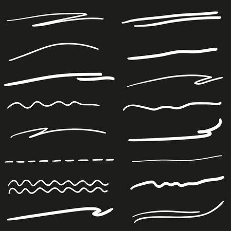 Hand drawn wavy lines. Abstract underlines. Black and white illustration