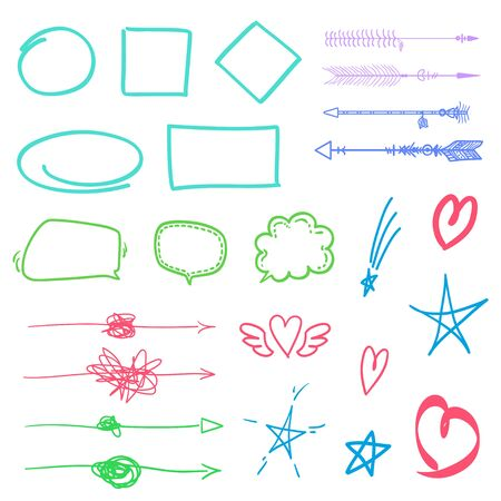 Colored signs isolated on white. Hand drawn simple arrows. Abstract sketchy symbols