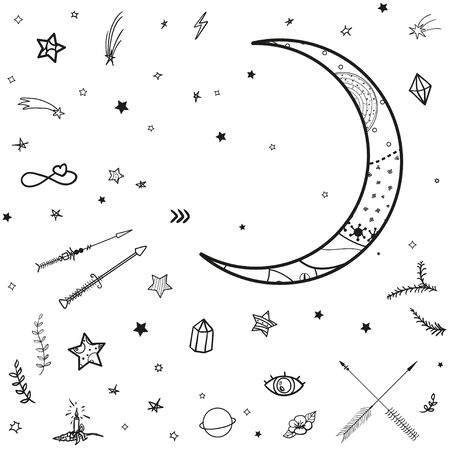 Cosmic elements. Crescent moon and stars with abstract patterns. Black and white illustration