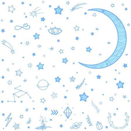 Crescent moon with cosmic elements on white. Abstract signs on isolation background. Moon and stars with abstract patterns on isolated background
