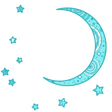 Colorful crescent moon on white. Ornate moon and stars with abstract patterns on isolation background
