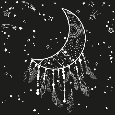 White dreamcatcher with stars on black. Abstract mystic symbol. Design for spiritual relaxation for adults 向量圖像