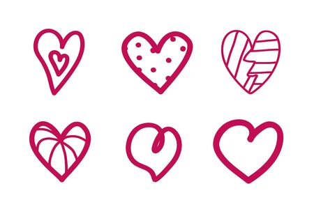 Heart on isolated white background. Hand drawn hearts. Valentine's day