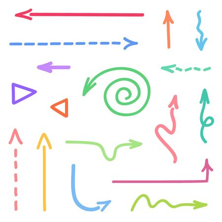Arrow on isolated white background. Hand drawn simple arrows