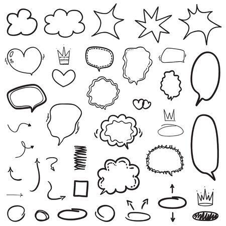 Set di elementi infografici disegnati a mano. Molti fumetti. Fumetto astratto su bianco. Diversi cerchi e frecce. Illustrazione in bianco e nero Vettoriali