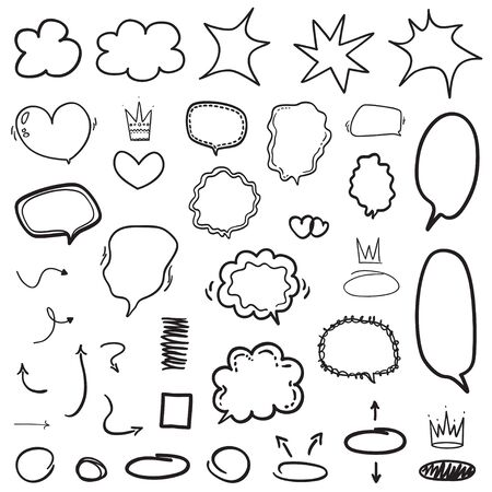 Set of hand drawn infographic elements. Many speech bubbles. Abstract speech bubble on white. Different circles and arrows. Black and white illustration Vetores