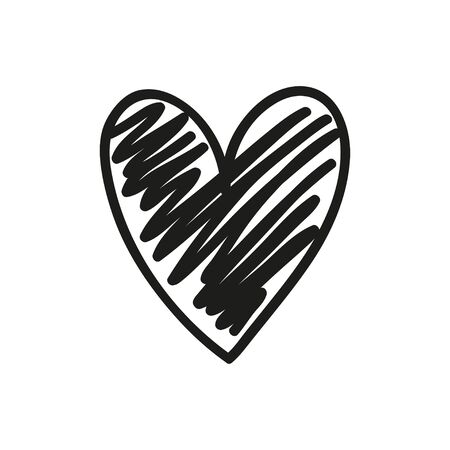 Abstract black heart. Love symbol. Hand drawn sketchy heart. Black and white illustration. Valentine's day 일러스트