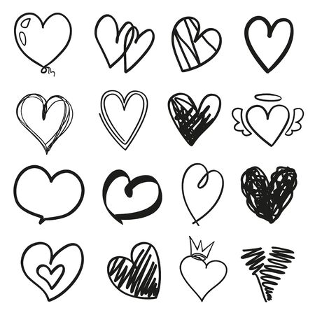 Many black hearts on isolated white background. Set of different hearts. Black and white illustration