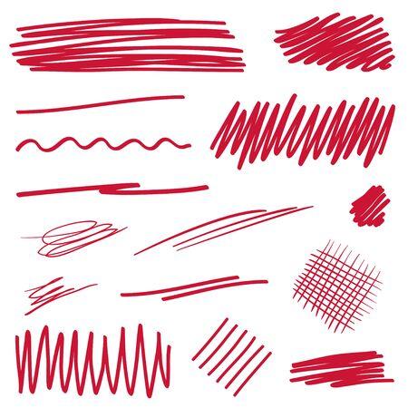 Colored underline. Chaotic lines. Hand drawn sketchy underlines. Colorful illustration. Elements for design Ilustração