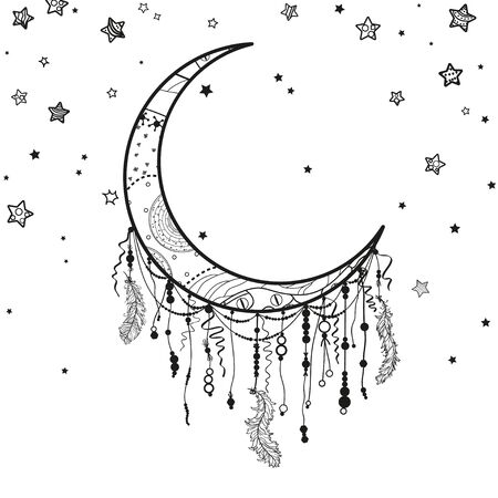 Dreamcatcher and many stars with abstract ornate patterns on isolation background. Black and white illustration