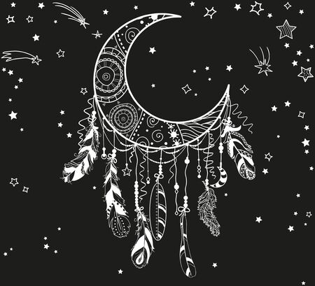White dreamcatcher with stars on black. Abstract ornate object. Design for spiritual relaxation for adults 向量圖像