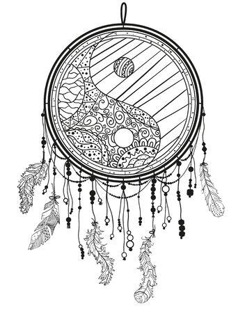 Yin y yang. Atrapasueños en blanco. Símbolo místico abstracto. Ilustración en blanco y negro
