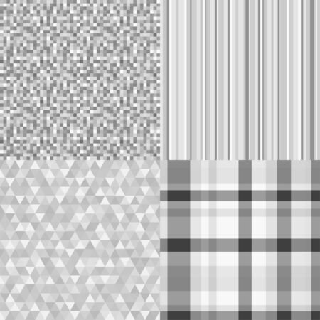 Set of seamless patterns. Abstract geometric wallpaper of the surface. Striped multicolored background. Print for banner, flyer or poster. Black and white illustration
