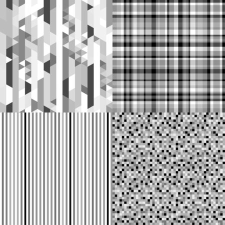 Set of seamless backgrounds. Seamless stripe pattern. Abstract geometric wallpaper. Tiled multicolored background. Print for banner, flyer or poster. Black and white illustration