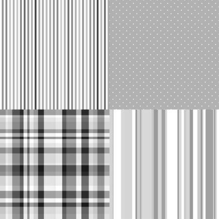 Set of monochrome seamless patterns. Abstract geometric wallpaper of the surface. Striped multicolored background. Print for banner, flyer or poster. Black and white illustration