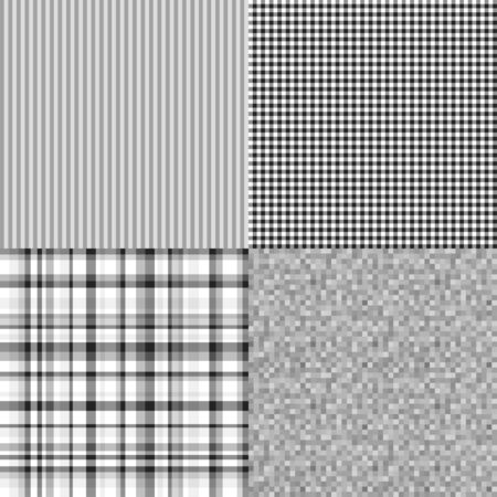 Set of seamless patterns. Simple multicolored background. Black and white texture