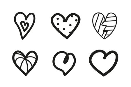 Grunge hearts on isolated white background. Set of unique elements for design. Black and white illustration 일러스트