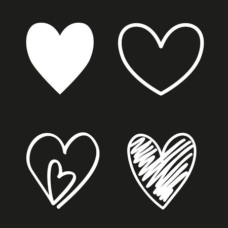 Hearts on isolated black background. Set of love symbols. Black and white illustration. Holiday concept 일러스트