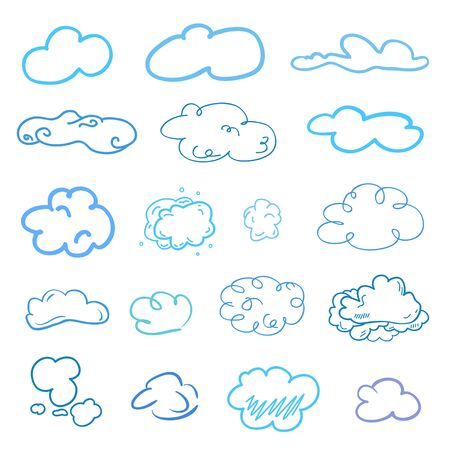 Colorful outlined cloud on isolated background. Sketchy doodles on white. Hand drawn clouds. Colored illustration. Nature concept 向量圖像
